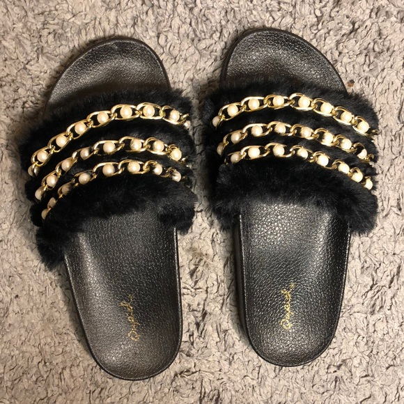 2bcc22e81da Black Furry Slides With Pearl Beading
